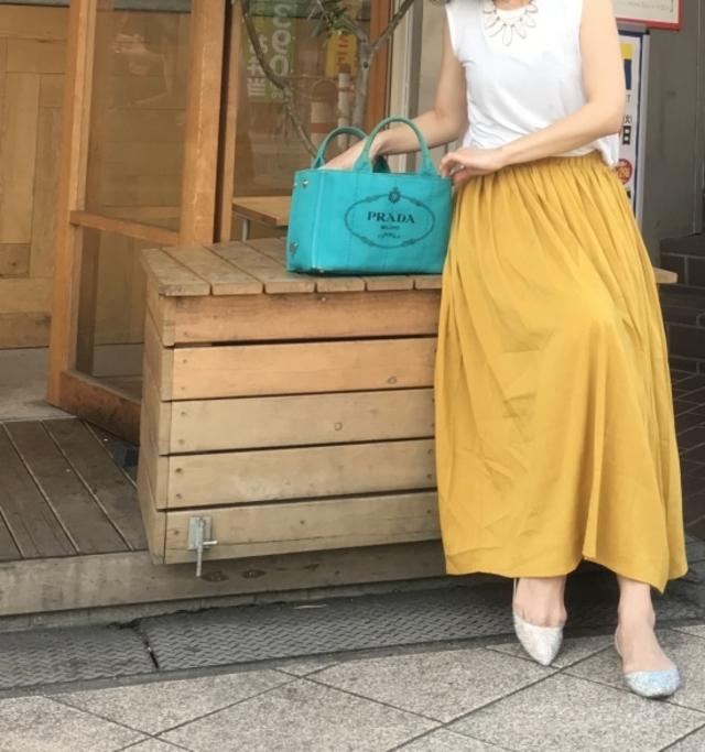 リネン風ギャザーロングスカート