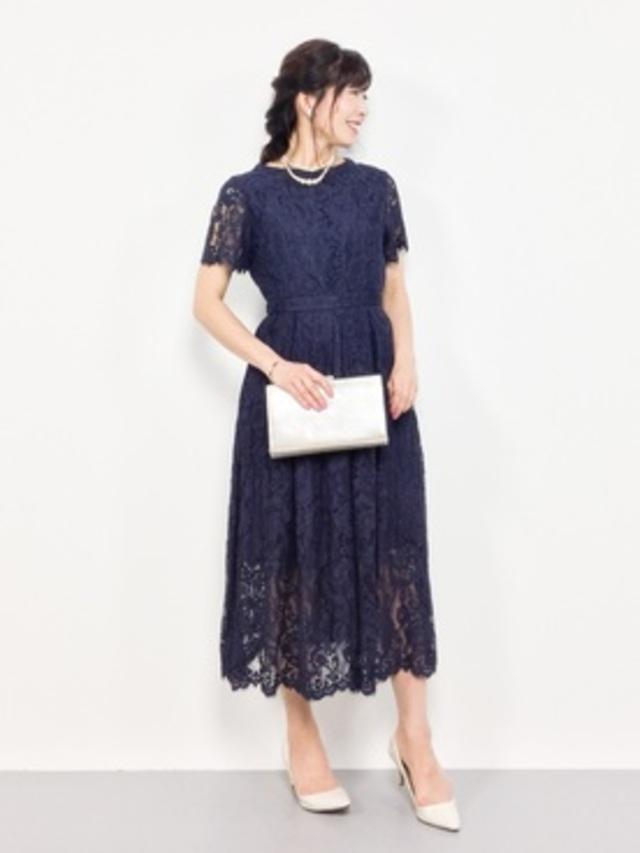【aimer anche】ラッセルコードレース袖付きドレス