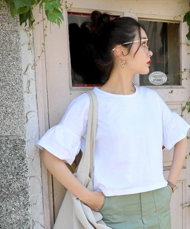 綿100%袖フレア半袖Tシャツ