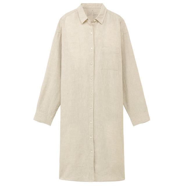 フレンチリネン洗いざらしシャツワンピース