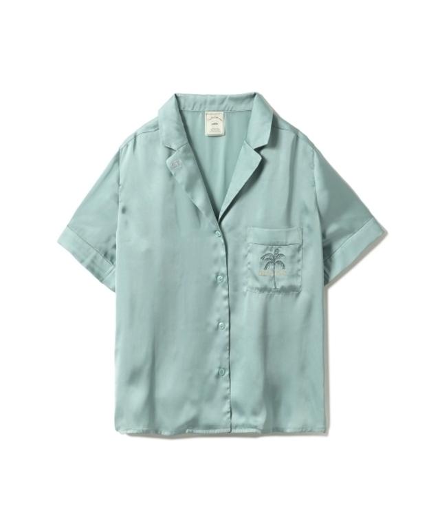 モチーフサテンシャツ(グリーン)