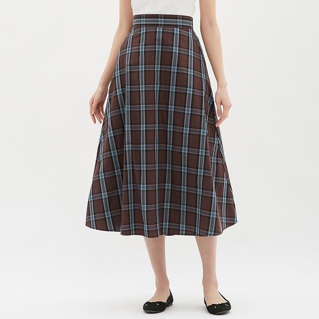 チェックフレアロングスカート