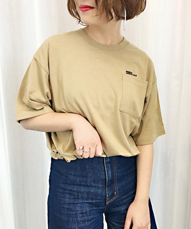 刺繍ロゴポケットTシャツ