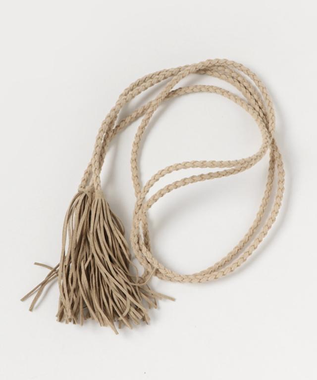 タッセル編み込みロープベルト