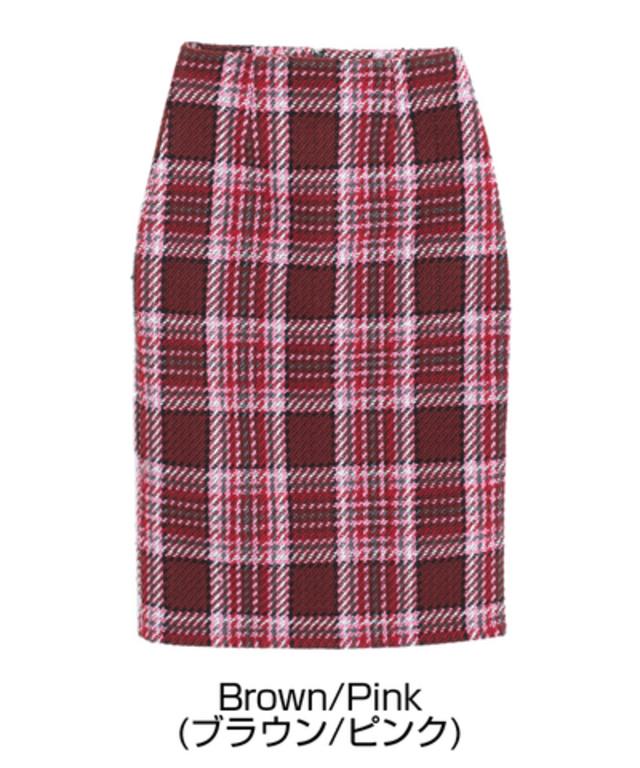 大柄チェックフェイクツイードタイトスカート