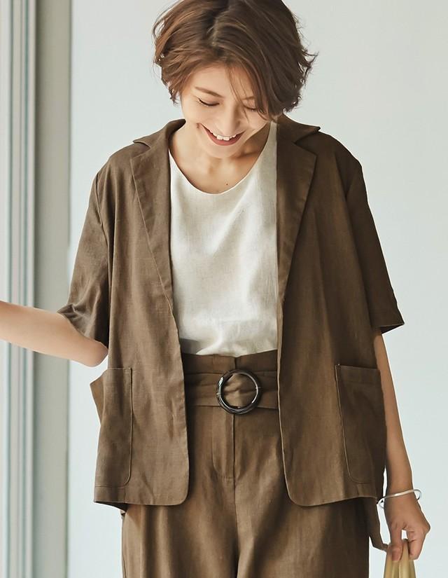 5分袖リネンテーラードジャケット