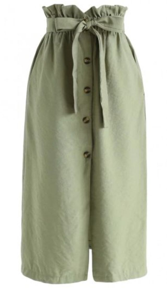 サッシュ付きラッフルウエストスカート