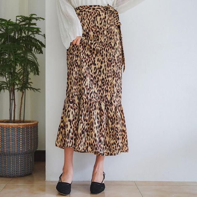レオパード柄フリルラップスカート