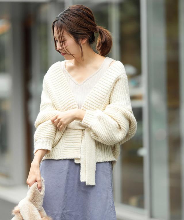 手編みライクガウンカーデ