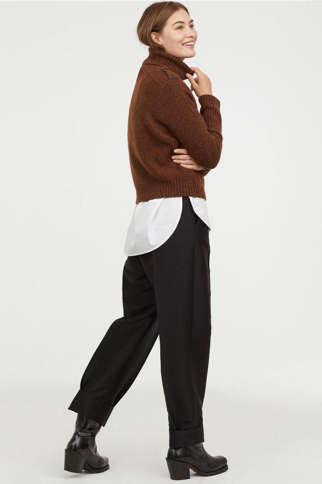 ウールブレンド タートルネックセーター