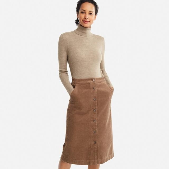 コーデュロイフロントボタンスカート(ハイウエスト・丈標準69~72cm)