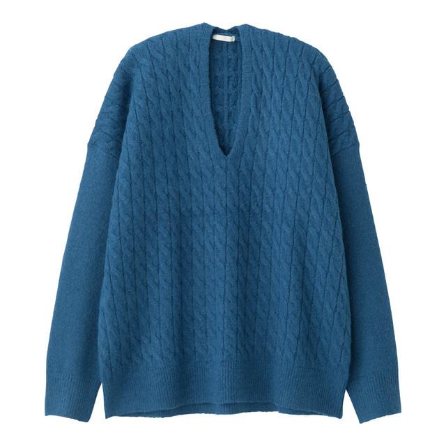 ケーブルオーバーサイズVネックセーター(長袖)BB