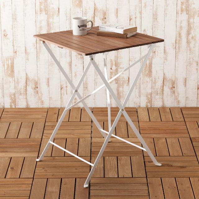 スチールアカシア折りたたみテーブル