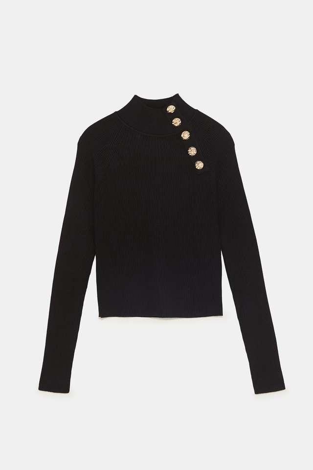 ボタン付きリブ編みセーター