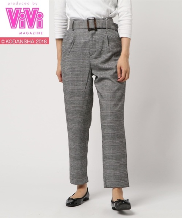 【ViVi11月号掲載】「2PINK(ツーピンク)」グレンチェック柄テーパードパンツ