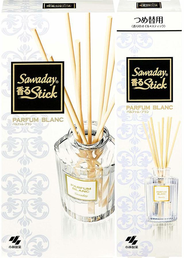 【まとめ買い】サワデー香るスティック 消臭芳香剤 本体 パルファムブラン 70ml + 詰め替え用 70ml