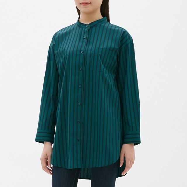 ストライプバンドカラーロングシャツ(長袖)