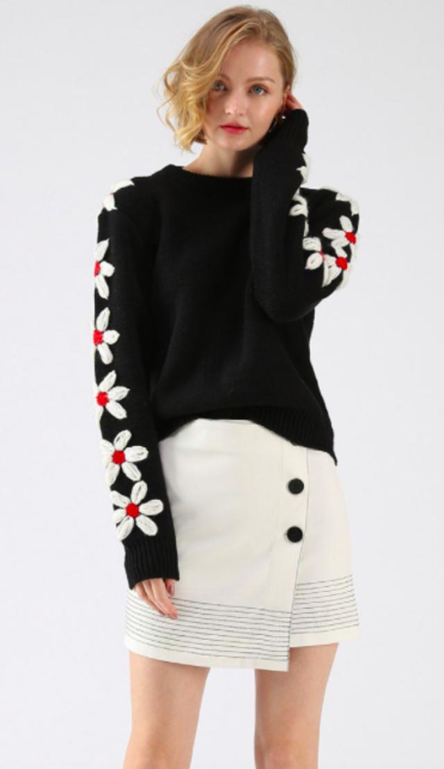 花柄スリーブニットセーター