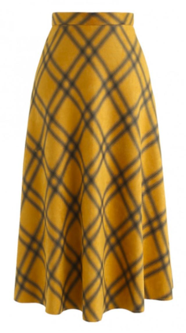 スエードチェック柄スカート