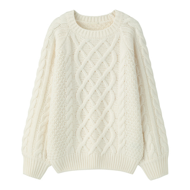 ケーブルオーバーサイズクルーセーター
