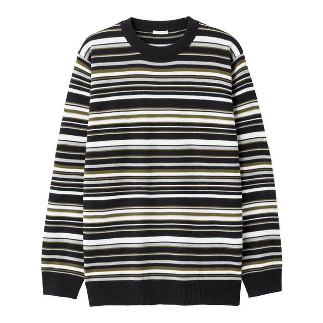 マルチボーダークルーネックセーター(長袖)