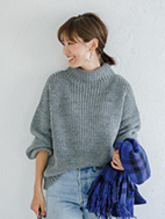 sleeve moss stitch knit grey