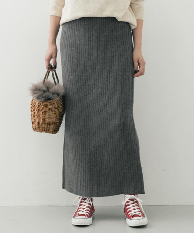 ロングリブニットスカート