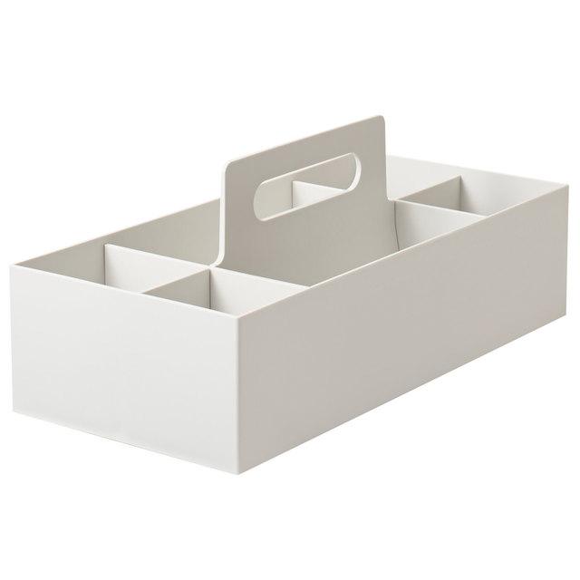 ポリプロピレン収納キャリーボックス ホワイトグレー