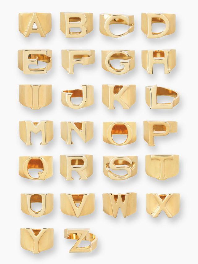 ブラスの「Alphabet」リング