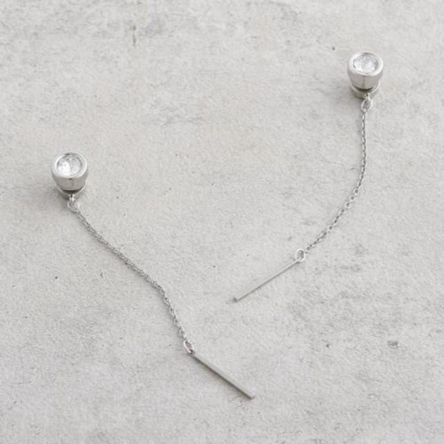 スワロフスキー×スティックチェーンマグネットイヤリング