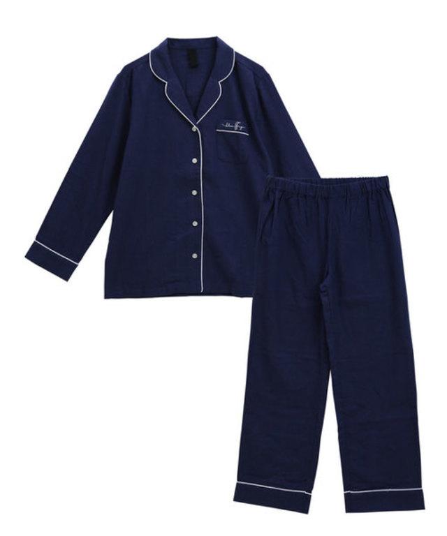 ブルーミングフローラ綿100%ピーチ起毛シンプルパジャマ