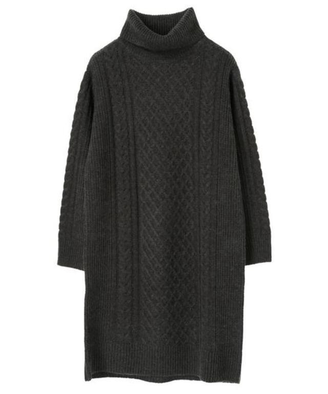 Wool混ケーブルニットワンピース