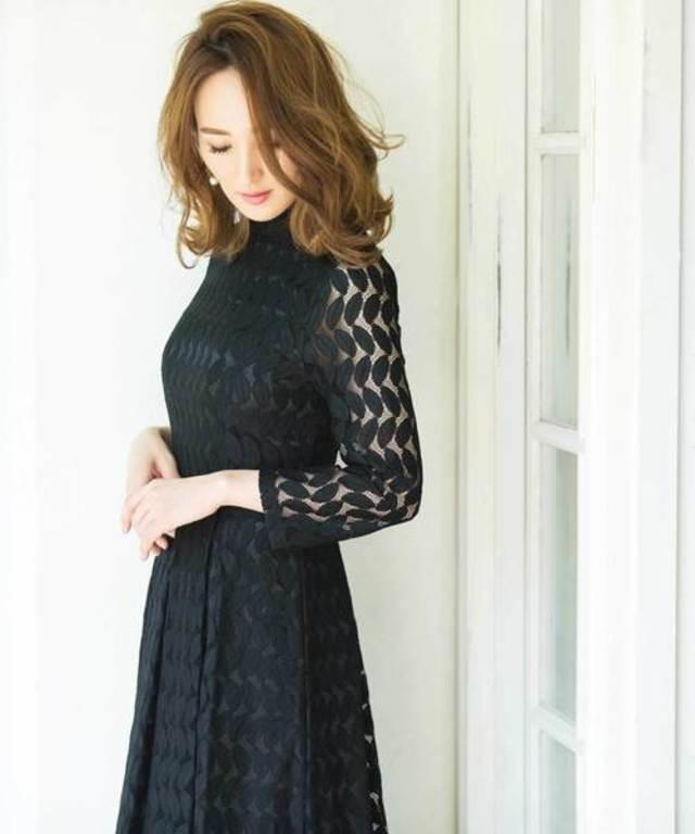 【星玲奈さんコラボ】リーフモチーフアンクル丈ドレス