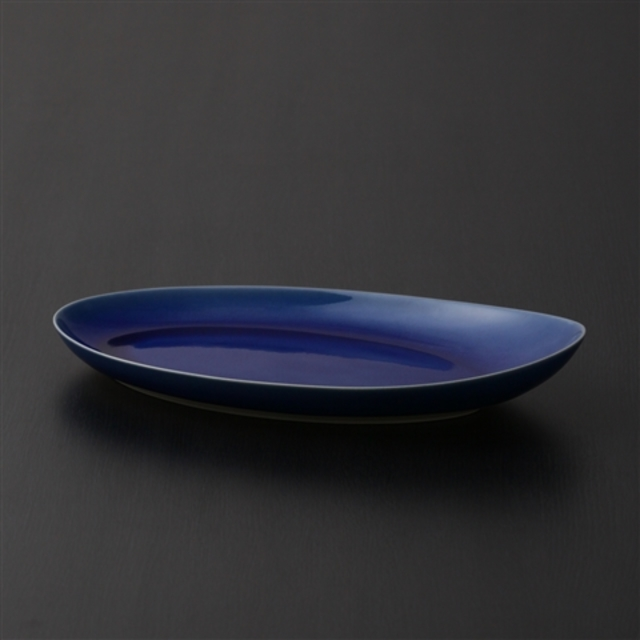 瀬戸焼 オーバル大皿 ガラスコバルト釉