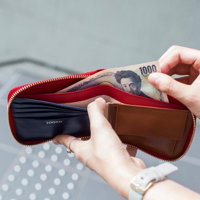 二つ折りレディースファスナー財布