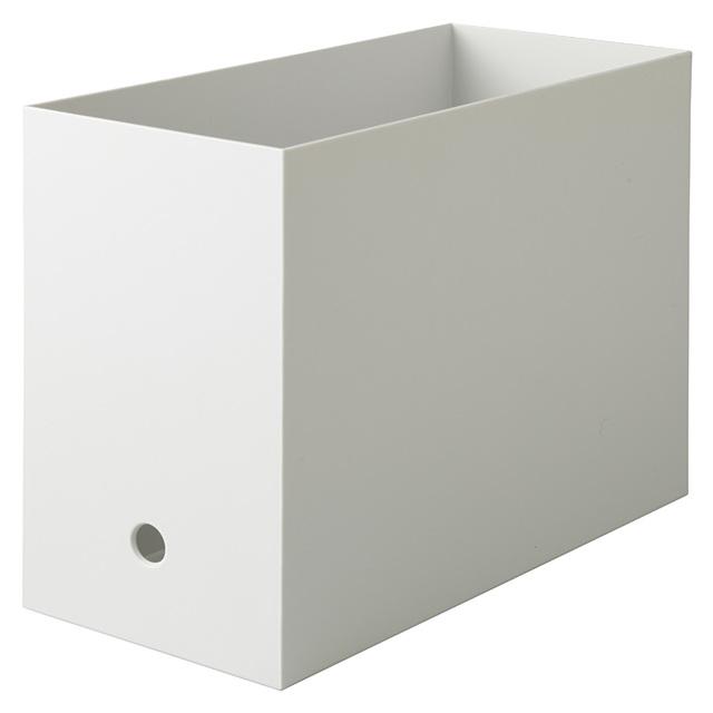 ポリプロピレンファイルボックス・スタンダードタイプ・ワイド・A4用ホワイトグレー 約幅15cm×奥行32cm×高さ24cm
