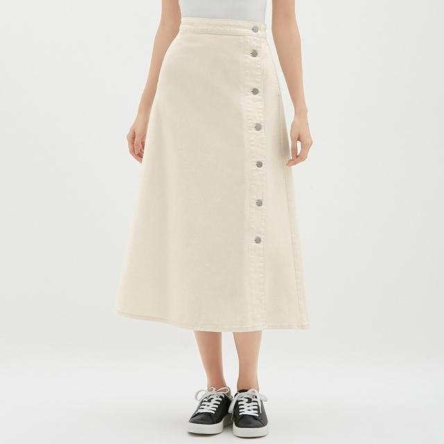 デニムサイドボタンロングスカート