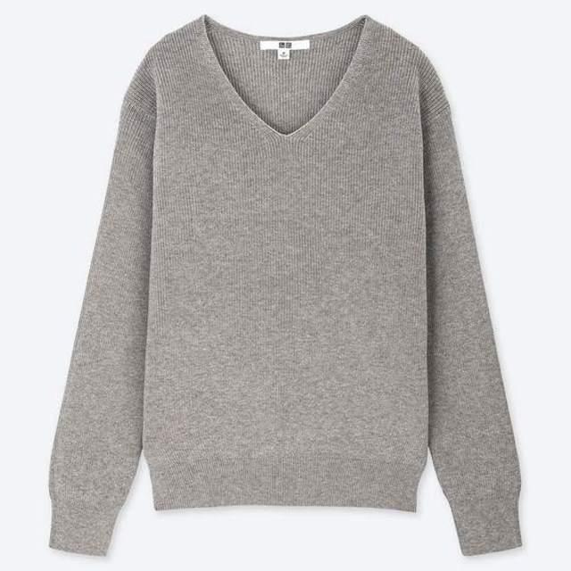 コットンカシミヤVネックセーター