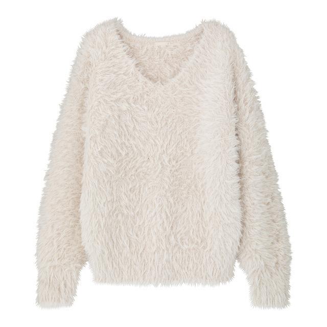 フェザーヤーンオーバーサイズVネックセーター