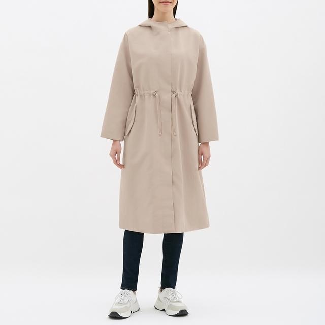 ドローストリングフーデッドコート