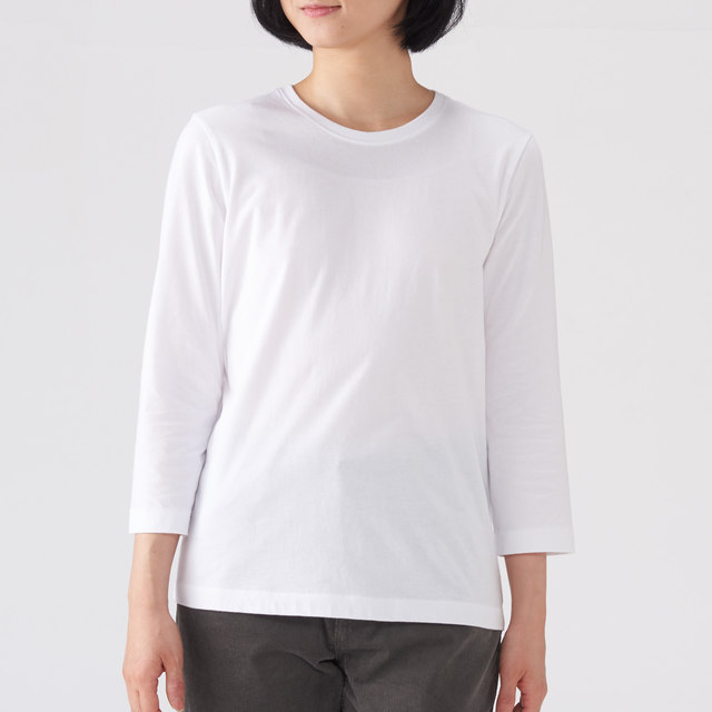 オーガニックコットン七分袖Tシャツ(白)
