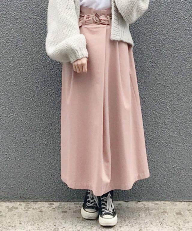 ベルト付きハイウエストラップ風スカート