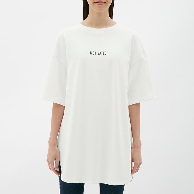 オーバーサイズロゴT(5分袖)