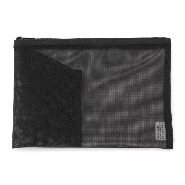 ナイロンメッシュケース・ポケット付き B6サイズ・黒