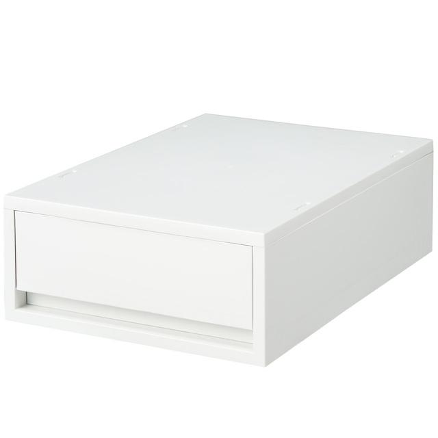 ポリプロピレンケース・引出式・浅型・ホワイトグレー (V)約幅26×奥行37×高さ12cm