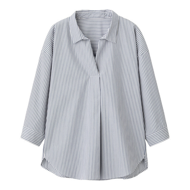 ストライプオーバーサイズスキッパーシャツ(7分袖)