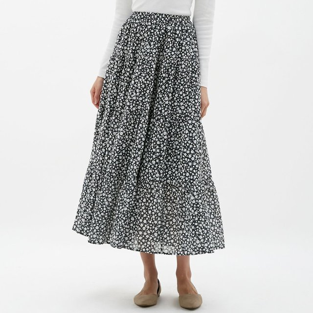 ティアードフレアロングスカート