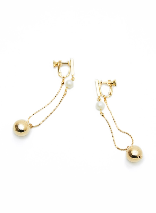 pointed pearl and metal earring