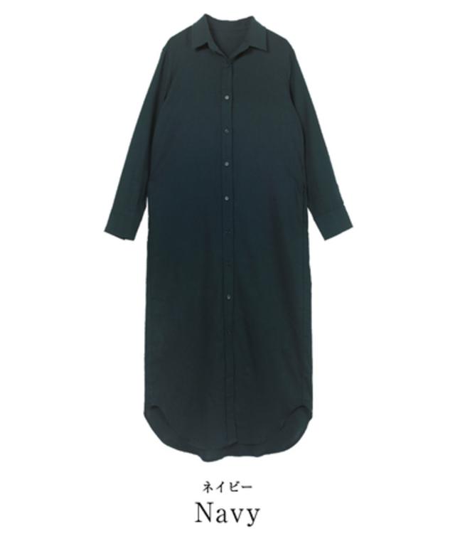 リネン混ロングシャツワンピース