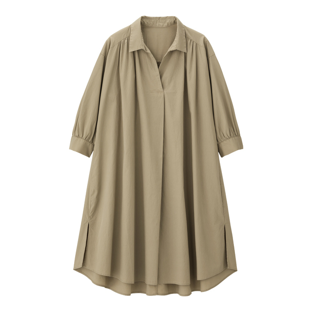 Aラインシャツワンピース(7分袖)